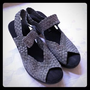Silver Shoes with Back/Top Straps with Heel 7.5